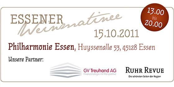 Essener Weinmatinee -  Philharmonie, Huyssenallee 53 in 45128 Essen am Samstag, den 15.10.2011 von 13.00-20.00 Uhr